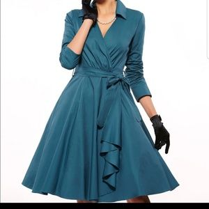 Retro Style Teal Fit and Flare Dress.